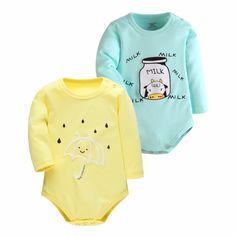 2016 Bébé Barboteuses Enfants Automne Nouveau-Né Bébé Vêtements Coton Body Bébé À Manches Longues Hiver Salopette pour les Filles Importés-Vêtements