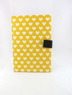 Journal Notebook Blank White Silky Smooth Paper 52 Pages Bright Yellow with White Hearts on Cover Magnetic Cotton Cloth Closure - Discounted