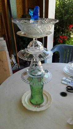Glass yard art using my aunts baptismal bowl. She'll be surprised!