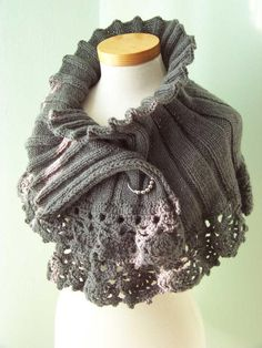 Grey lace trimmed capelet from Berniolies Designs. Graded as easy to knit.