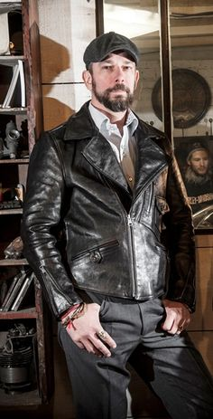 Pegasus Vintage Horsehide D-Pocket leather motorcycle jacket.