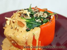 Spinach and Rice Stuffed Peppers with Almond Butter Sauce from One-Dish Vegan