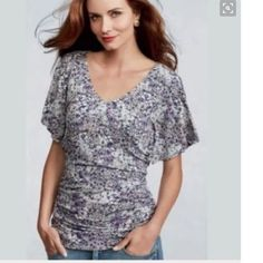 CAbi Flutter Sleeve Top Chic Cabi Floral Top with flattering ruched sides.  Navy, Pink and Gray print of soft jersey.  Perfect with white jeans this summer!  Excellent condition! CAbi Tops Blouses