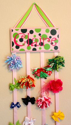 Girls Bow Hanger With Ribbons on Etsy, $35.00