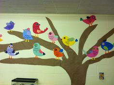 One of the sweetest birthday displays we've ever seen-- birds on a tree!