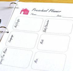 Free Homeschool Preschool Planning Page