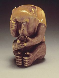 Netsuke monkey with netsuke monkey in hand. Japan. Hermitage museum, Russia