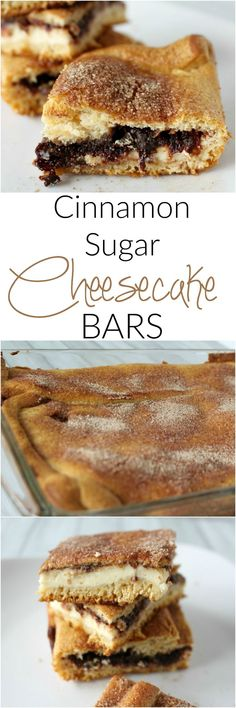 Easy dessert to make for a crowd - Cinnamon Sugar Cheesecake Bars - I love that you can make them before and pull them out when you need them!