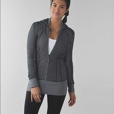 Lululemon daily practice jacket. why we made this: We designed this hooded, mid-layer jacket to keep you cozy during warm-ups and cool-downs. fabric + features: cottony-soft Luon® fabric is engineered for serious stretch and recovery added LYCRA® fibre moves with you and stays in great shape thumbholes and doubled cuffs help keep sleeves down and chills out imported fit + function: designed for: yoga, gym fabric(s): Luon® fit: slim length: long Jackets & Coats
