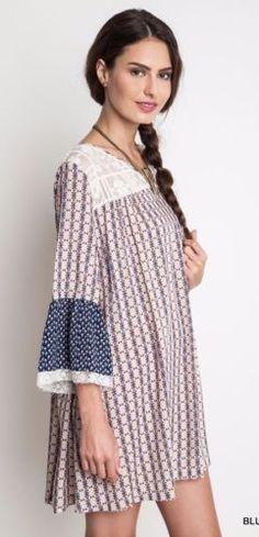 Umgee-Sheer-Lace-Shift-Dress-Bell-Sleeve-Bohemian-Chic-Boho-Gypsy-Blue-A1286 #Unique_Boho_Style