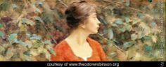 Theodore Robinson Lady in Red hand painted oil painting reproduction on canvas by artist Impressionist Art, Impressionism, Theodore Robinson, Old Master, Lady In Red, Watercolor Art, Art Gallery, Fine Art, Artist