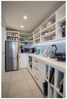 Kitchen Pantry Design, Modern Kitchen Design, Home Decor Kitchen, Home Kitchens, Kitchen With Pantry, Prep Kitchen, Kitchen Storage, Pantry Laundry Room, Walk In Pantry