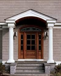 Porch - columns, no railing Arched Front Door, Entry Door With Sidelights, Front Porch Steps, Front Door Porch, Front Porch Design, Porch Columns, Entry Doors, Front Stoop, Front Porches