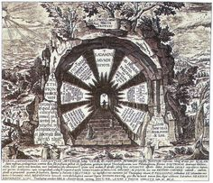 """The Gateway to Eternal Wisdom ~ This symbolic figure, representing the way to everlasting life, is described by Khunrath in substance as """"the Portal of the amphitheatre of the only true and eternal Wisdom... To this portal ascent is made by a mystic, indisputably prologetic, flight of steps, .. [consisting] of seven theosophic, or, rather, philosophic steps of the Doctrine of the Faithful Sons."""""""