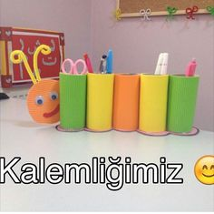 Artık materyal etkinliği ✔️kalem kutu Recycled Crafts Kids, Easy Crafts For Kids, Projects For Kids, Art For Kids, Origami Pencil Holder, Art Caddy, Classroom Birthday, Diwali Craft, Bookmark Craft