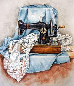 https://www.instagram.com/art_bess/ Швейная машинка, Акварель. art,artist,draw,drawing,aquarelle,watercolor, stilllife,sewing,drapery, handmade, рисунок, натюрморт, акварель, швейная машинка