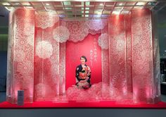 2015 Jr Nagoya Takashi Maya ©Hirocoledge www.bulesconcept.com Window Display Design, Pop Display, Visual Display, Shop Window Displays, Booth Design, Chinese Wedding Decor, Chinese New Year Decorations, New Years Decorations, Store Windows