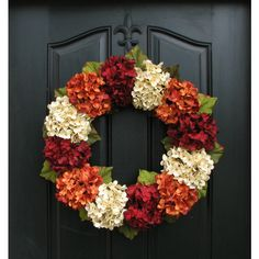 Fall Hydrangea Wreath Fall Wreath Etsy Fall Hydrangea Wreaths for... ($55) ❤ liked on Polyvore featuring home, home decor, holiday decorations, dark olive, home & living, home décor, ornaments & accents, outdoor autumn wreaths, fall home decor and outside ornaments