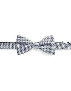 Black Brown 1826 Checked Silk Bow Tie Men's Brown