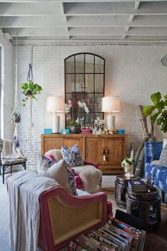 Nadia Geller's Downtown Design Studio  Workspace Tour - love the white walls and eclectic furniture!