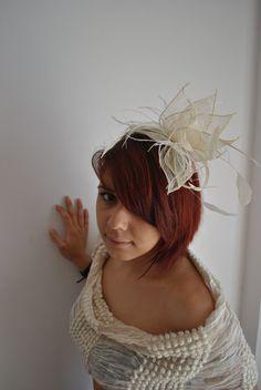 Cream Fascinator Hat for Wedding, Coctails, Kentucky Derby. $39.99, via Etsy.