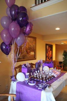 Krysten C's Birthday / Cheerleading - Purple Cheerleading Birthday at Catch My Party Cheer Decorations, Purple Party Decorations, Birthday Party Decorations, Birthday Ideas, Cheer Birthday Party, Cheer Party, 15th Birthday, Cheerleader Party, Lila Party