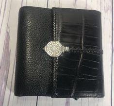 509d7369f1f427 Brighton Wallet Black Leather Trifold 11 Card Pockets Photo Windows Womens