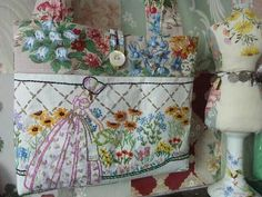 What a cute idea...I have some old linens with holes...This would be a great use for them!