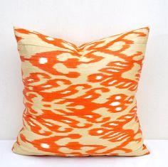 Ikat pillow cover Orange 20 x 20 inch