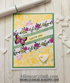 Show and Tell with Michelle: For My Beautiful Friend ~ July SOTM Blog Hop My Beautiful Friend, Specialty Paper, Floral Border, Heart Cards, Close To My Heart, Show And Tell, My Stamp, Homemade Cards, Scrapbook Pages