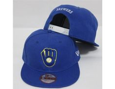 f859043fde6 New Era MLB Milwaukee Brewers Snapback Hats Caps All Blue 4104! Only   7.90USD