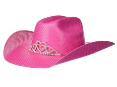 M&F Western Twister Straw Cowgirl Hat w/ Tiara Crown (Little Kids/Big Kids) Cowboy Hats Hot Pink Kids Cowboy Hats, White Cowboy Hat, Little Cowgirl, Rainbow Shoes, Trendy Halloween, Cowgirl Party, Tiaras And Crowns, Girl With Hat, Big Kids