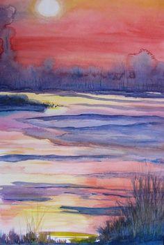 Johan Vandenbussche - avondrood over het meer