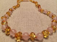 "Polished Lemon Pink Quartz Baltic Amber Necklace for Newborn Baby, Infant 11"""