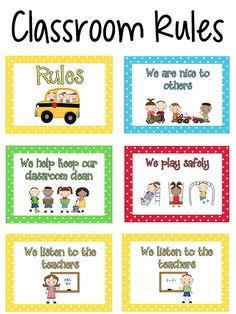 Here are some printable rules posters you can use in your classroom. Classroom Rules for Pre-K and Preschool children should be short, and easy to understand by a young child. Preschool Classroom Rules, Classroom Behavior, Classroom Management, Preschool Activities, Classroom Ideas, Preschool Transitions, Shape Activities, Behavior Management, Class Rules Poster
