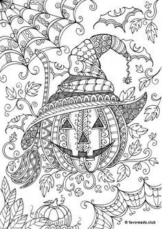 Crazy Pumpkin Halloween colouring page