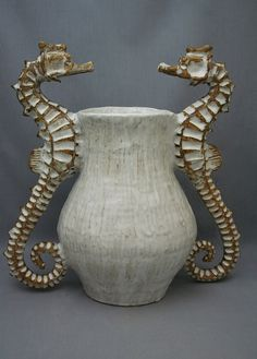 Large Ceramic Seahorse Vase by Shayne Greco Beautiful Nautical Shabby Chic Mediterranean Sculpture Pottery