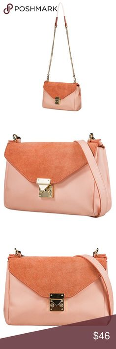 """Pink Crossbody Bag with Gold Chain Pink crossbody mini bag features soft supple pink faux leather and suede flap, gold clasp closure, and chain strap. One interior zip pocket. Measures 8.5"""" across the base, 6.5"""" tall, 5"""" width and strap from top to bottom of the bag is 28"""". Bags Crossbody Bags"""