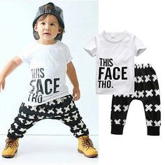 0d1a0ac2cbd Tops + Harem Letter White Cotton Pants Set Boys Clothes Sets 2016 Summer  Baby Boy Clothing Toddler Casual T-shirt - Kid Shop Global - Kids   Baby  Shop ...
