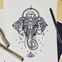 • drawing Illustration art jewelry beautiful patterns elephant animal tattoo flower ink africa pen ornate lotus detail mandala India hindu Ganesha swirls linework ballpoint fineliner kim-ang •