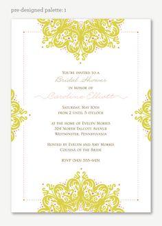 Jeweled Frame Bridal Shower invitation - Unique Bridal Shower Invitation