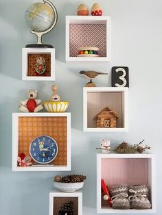 Inspiration for an Eclectic Girls Room...Boxes to brighten walls