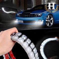 2X super Auto polvere Auto Decorative Striscia Flessibile del LED HighPower 12 V Car LED Daytime Running Light Car LED Light Strip DRL