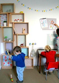 Etagère caisse décorative en bois et tissu - Rosalie - L : Meubles et rangements par littleboheme