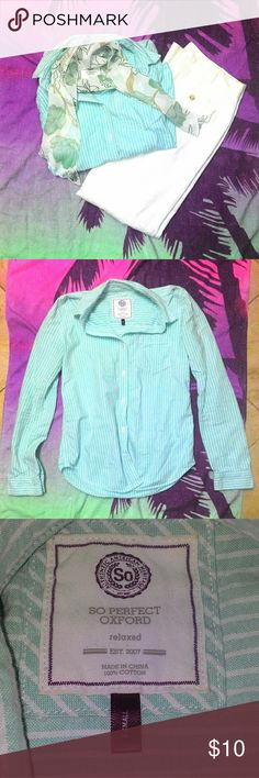 """EUC SO Oxford Button Down Between armpits: 16"""" Shoulder to hem: 25""""  This is in EXCELLENT condition, there are NO stains, rips, or string pulling. All the buttons are intact.   BUNDLE a $4 item for free and/or a bottoms at full price and get this 50% off 😎  *Shirt will be ironed before shipment SO Tops Button Down Shirts"""