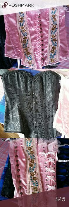 Sexy Corsets  bundle Gourgeous  vintage style embellished  pink with sequins and lace.Black one is stunning beautiful  with silk patterns both are medium Perfect and sexy never used.Selling as a bundle ire Tops Tank Tops
