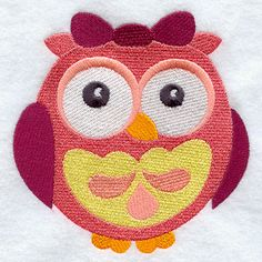 Wide-Eyed Baby Girl Owl design (F3069) from www.Emblibrary.com