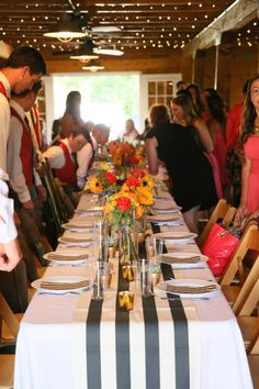 Black and white stripes wedding reception