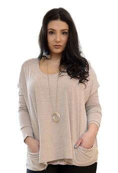 HALF PRICE...A Postcard From Brighton Pammy Melange Slouch Pocket  Top in Fudge
