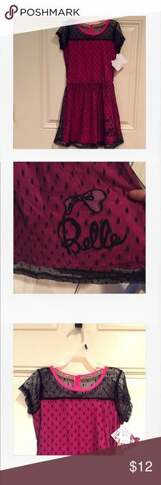 "*NWT* PINK & BLACK LACE BELLE DRESS NWT Adorable pink with black lace overlay Belle dress. The inside collar is trimmed in Leopard print and the front corner of the dress has a big bow with the words ""belle"" written. Fastens in back with a key hole button. Waist stretches. peanuts Dresses"